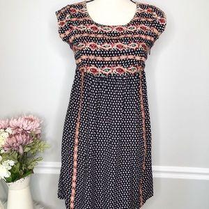 AnthroTHML Embroidered Pink| Blue  Shift Dress